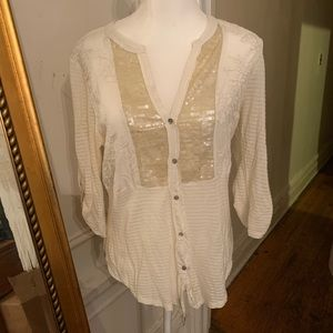 Beautiful Anthropologie off white sequined top